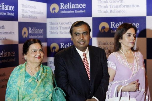 Mukesh Ambani and His Wife with Mukesh Mother Kokilaben Ambani