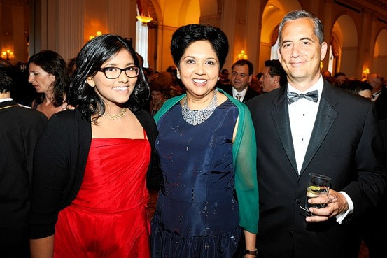 Tara Nooyi, PepsiCo Chairman and CEO Indra Nooyi and Lou Shapiro