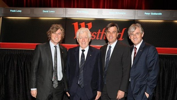 Frank Lowy pictured with sons David, Peter and Steven