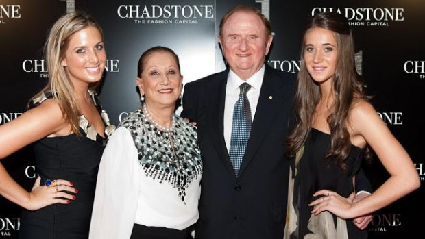 John Gandel with wife Pauline and their granddaughters