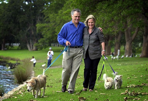 Malcolm Turnbull and his wife, former Sydney Lord Mayor Lucy Turnbull at Centennial Park in Sydney