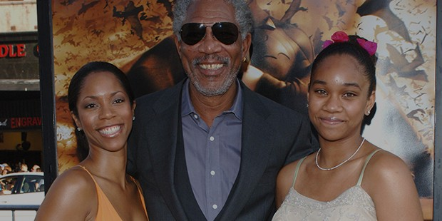 Freeman with his daughter (left) & granddaughter at the Los Angeles premiere of his new movie
