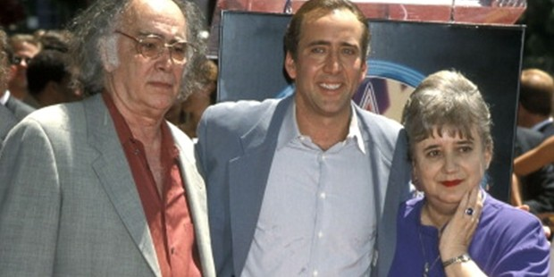 Nicolas Cage father August Coppola and mother Joy Vogelsang attend the Hollywood Walk of Fame on July 31, 1998