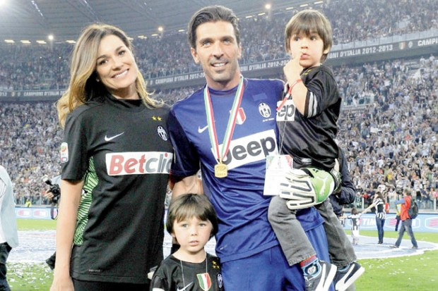 Gianluigi Buffon with wife Alena Seredova and sons Louis Thomas (standing) and David Lee (in arms)