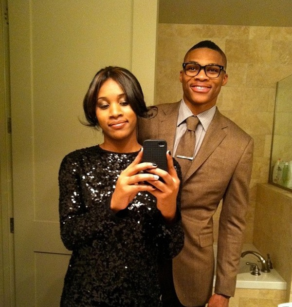 Russell Westbrook with his wife Nina Earl
