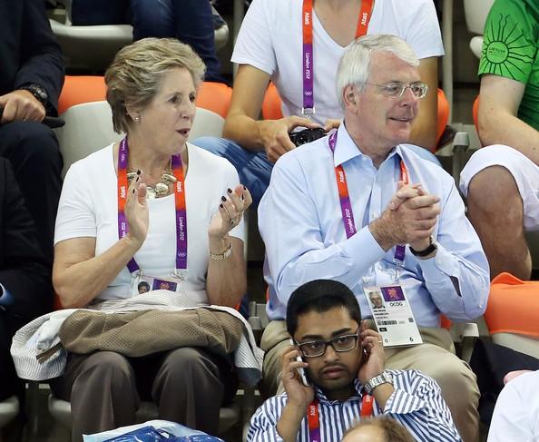 Sir John Major and His Wife Enjoying Swimming Finals at Olympic Park