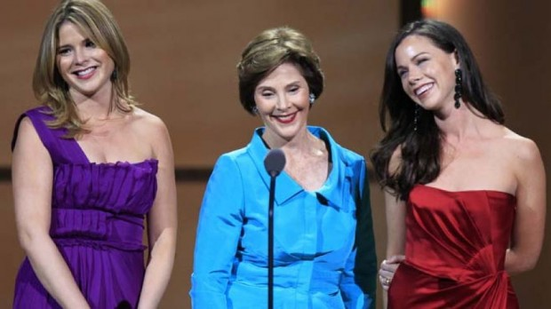 Laura Bush Speaks With Her Daughters Jenna Bush Hager And Barbara Bush