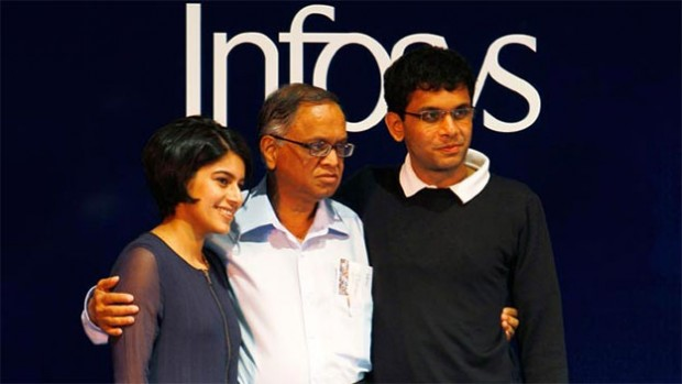 Narayana Murthy with His Son Rohan Murthy and Daughter-in-Law Lakshmi Venu