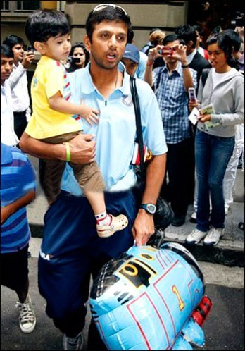 Rahul Dravid with His Son
