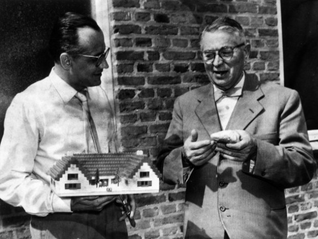 LEGO company Ole Kirk Christiansen with his son Gotfred Kirk Christiansen