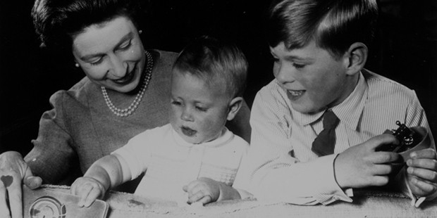 Queen Elizabeth II l with her sons Prince Andrew (right) and Prince Edward