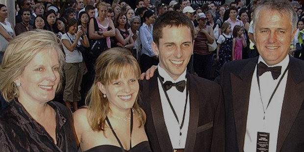Malcolm with his wife Lucy, daughter Daisy, son Alex at the premiere of the film Cold Mountain at the Sydney State Theatre in 2003