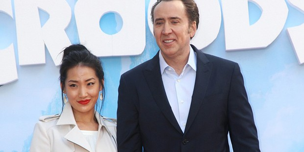 Nicolas cage with his wife Alice Kim