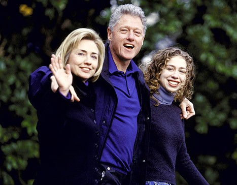 Bill Clinton with His Wife Hillary Clinton and Daughter Chelsea Clinton