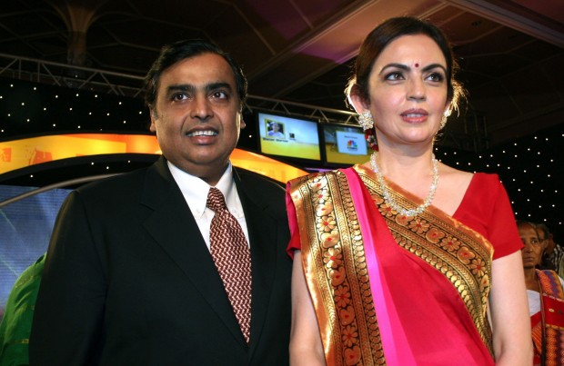 Mukesh with His Wife Nita Ambani