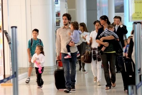 Marcos Mion Family at Airport