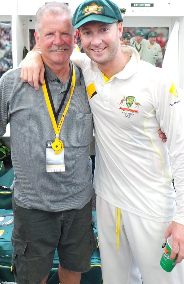 Michael Clarke With His Father Les Clarke