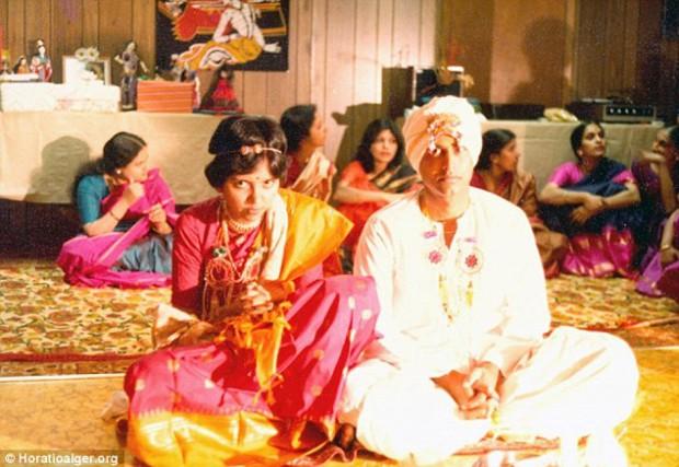 Indra Nooyi and Raj Nooyi on their wedding day