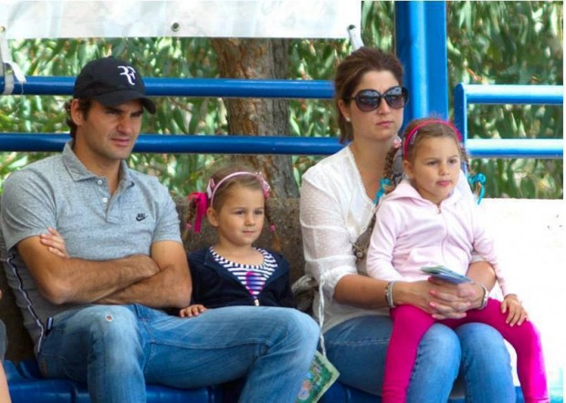 Roger Federer with Mirka and their Twin Daughters