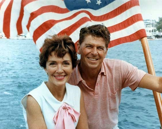 Nancy and Ronald Reagan on a boat in 1964