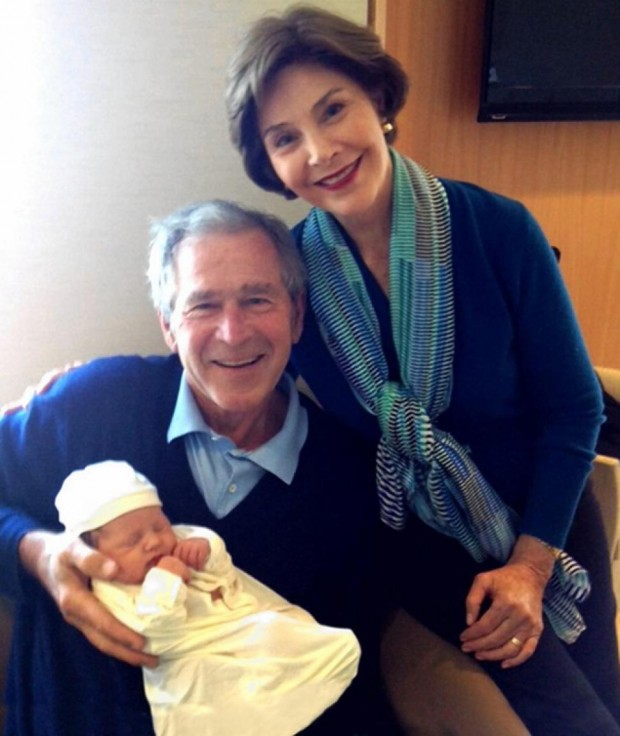 George and Laura Bush showed off the newest member of their family