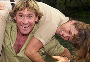 Steve Irwin Romps with Wife Terri