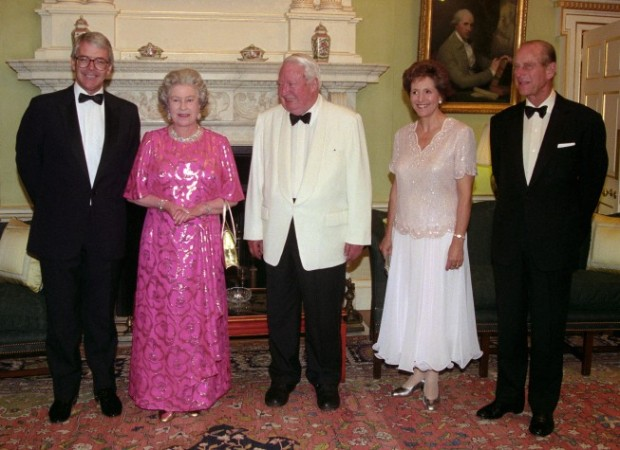 John Major and His Wife with The Queen