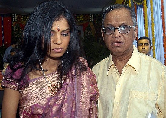 Narayana Murthy with His Daughter Akshatha on Her Wedding Day