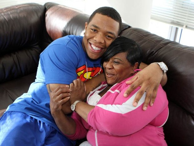 Ray Rice With His Mother Janet Rice