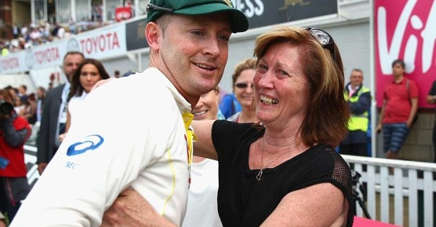 Michael Clarke With His Mother