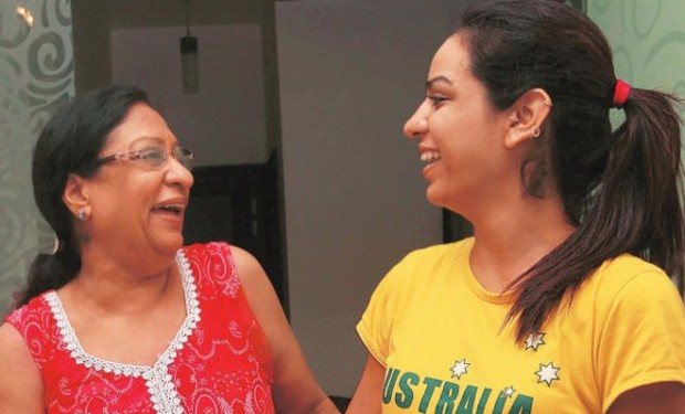Shikhar Dhawan Mother Sunaina Dhawan and Sister Shrestha Dhawan