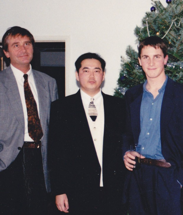 Harrison Cheung with Christian Bale and His Father David Bale