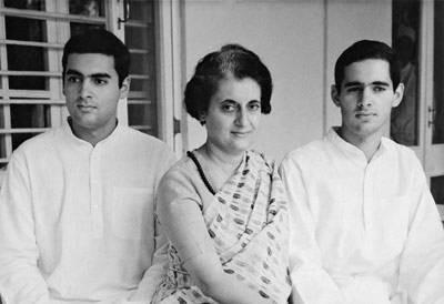 Indira Gandhi with her Sons Rajiv and Sanjay Gandhi