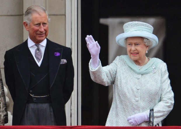 Queen Elizabeth with her son Prince Charles at Buckingham Palace in London
