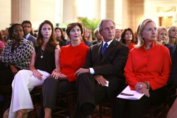 The Bush family along with Secretary of State Hillary Clinton
