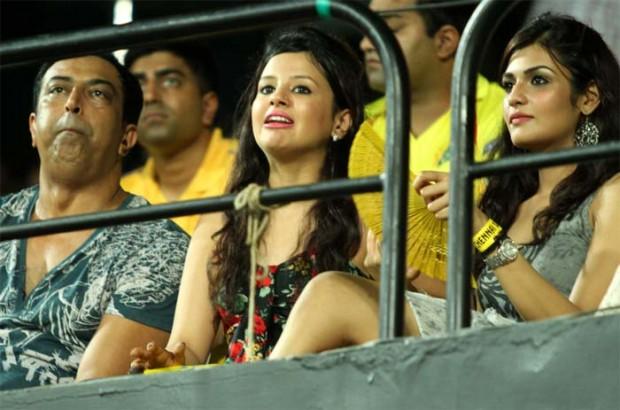 Sakshi watching while his Husband MSD is Batting