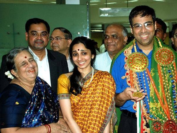 Vishy Anand With his Mother and Wife