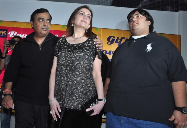 Mukesh and His Wife with Their Younger Son Anant Ambani