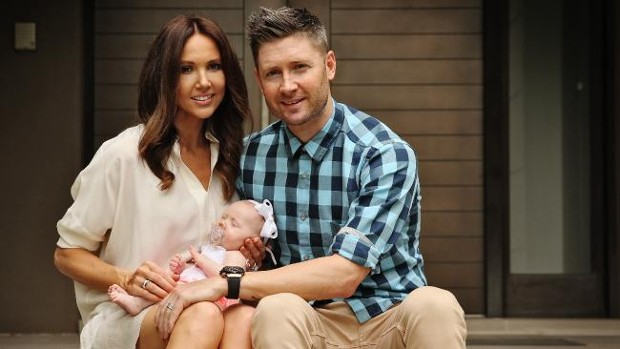 Michael Clarke With His Daughter