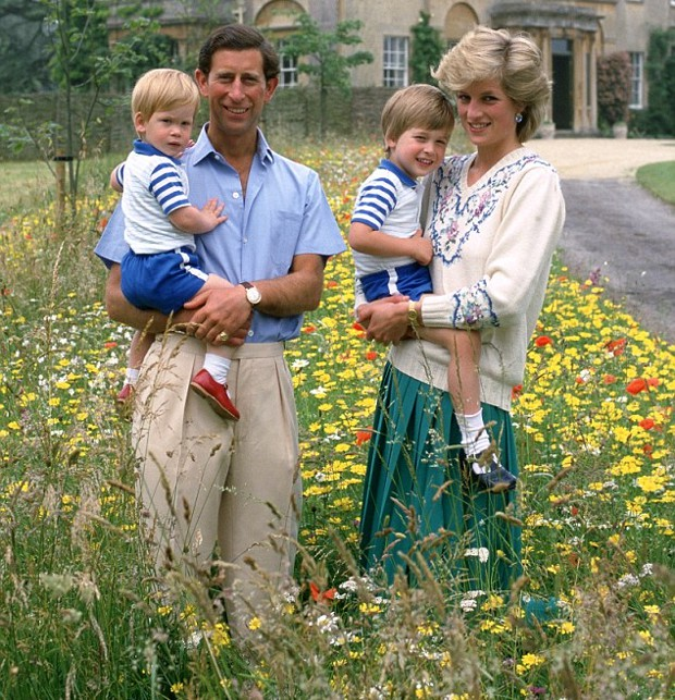 Prince Charles holding Prince Harry and Diana Williams