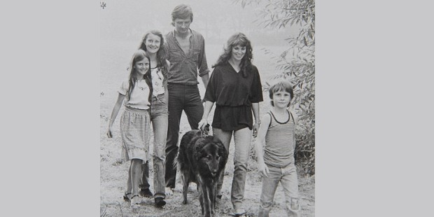 Christian Bale with His Father, Mother and Sisters in His Childhood