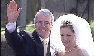 John Major with Her Daughter Eliizabeth on Her Wedding