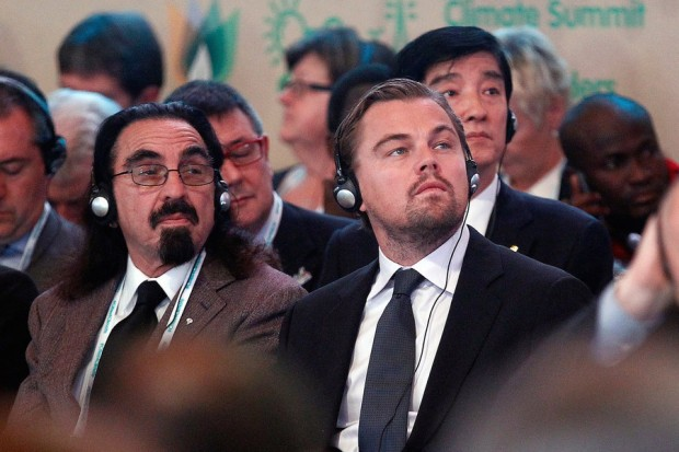 Dicaprio With His Father at Paris Climate Change Summit