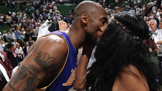 Kobe with His Mom Pamela at a Match