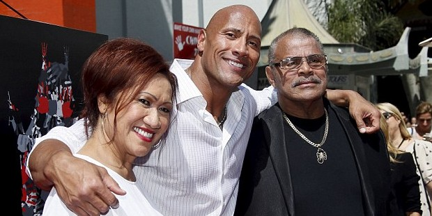 Dwayne Johnson with His Parents