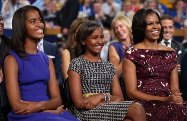 Michelle Obama With Her Daughters Malia Obama and Sasha Obama