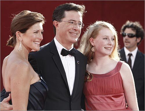 Stephen Colbert with his Wife Evelyn McGee (left) and Daughter Madeline