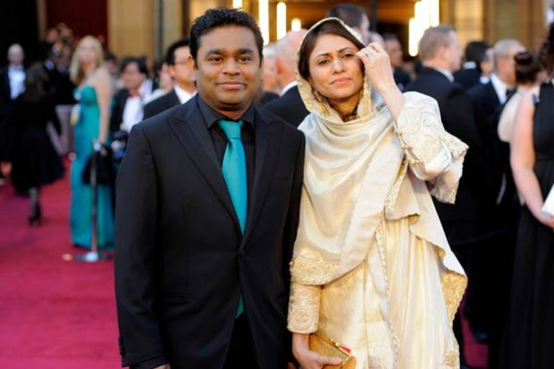 AR Rahman with His Wife at Academy Awards