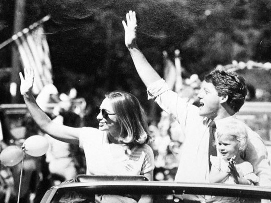 Bill Hillary and Chelsea Clinton wave to the Crowd during the 1987
