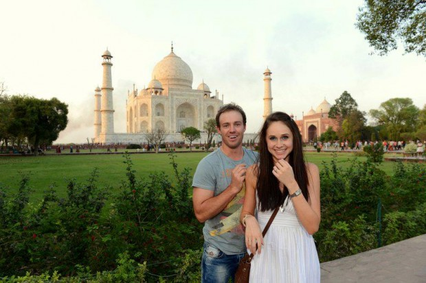 AB De Villiers and His Wife at Taj Mahal